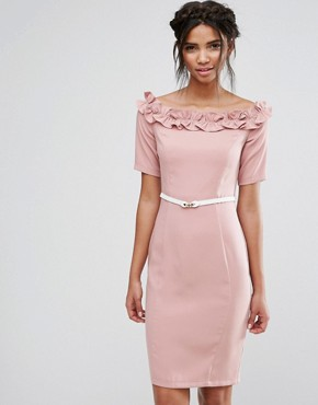 photo Bardot Midi Dress with Belt and Ruffle Detail by Paper Dolls, color Rose - Image 1