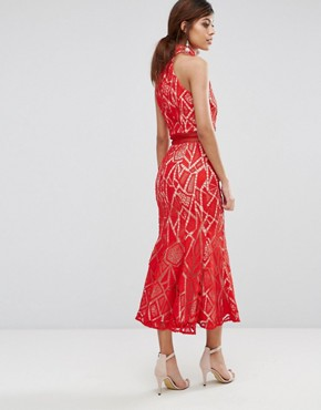 photo High Neck Midi Dress in Lace by Jarlo, color Red/Nude - Image 2
