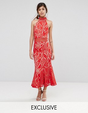 photo High Neck Midi Dress in Lace by Jarlo, color Red/Nude - Image 1