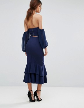 photo Midi Off Shoulder Midi Dress with Frill Detail by Jarlo, color Navy - Image 2