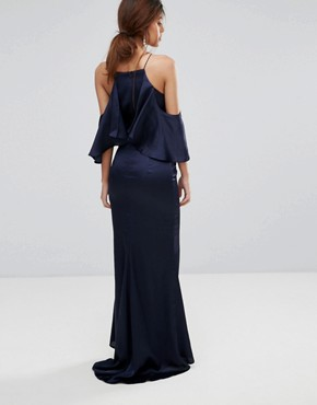 photo Fishtail Maxi Dress with Cold Shoulder by Jarlo, color Navy - Image 2