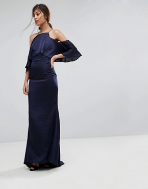 photo Fishtail Maxi Dress with Cold Shoulder by Jarlo, color Navy - Image 1