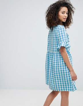 photo Gingham Dress with Ruffles by Vero Moda, color Blue White Check - Image 2