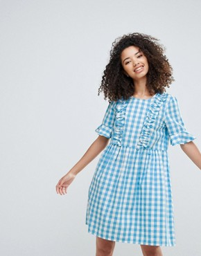 photo Gingham Dress with Ruffles by Vero Moda, color Blue White Check - Image 1