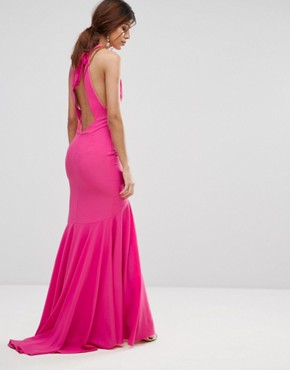 photo Fishtail Maxi Dress with Open Bow Back by Jarlo, color Fuchsia - Image 2