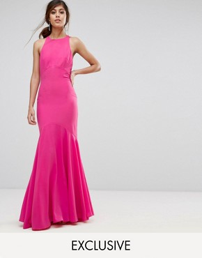 photo Fishtail Maxi Dress with Open Bow Back by Jarlo, color Fuchsia - Image 1
