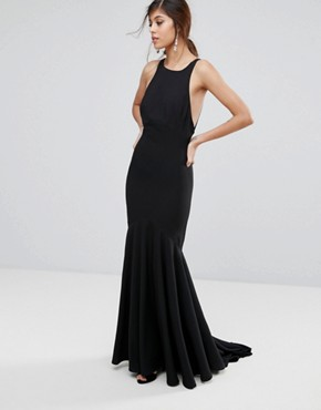 photo Fishtail Maxi Dress with Open Bow Back by Jarlo, color Black - Image 2