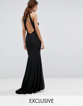 photo Fishtail Maxi Dress with Open Bow Back by Jarlo, color Black - Image 1