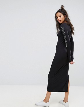photo Maxi Dress with Arm Print Logo by Calvin Klein Jeans, color Black - Image 2