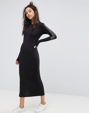 photo Maxi Dress with Arm Print Logo by Calvin Klein Jeans, color Black - Image 1