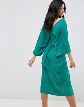 photo Kimono Sliced Maxi Dress by ASOS, color Green - Image 2