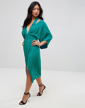 photo Kimono Sliced Maxi Dress by ASOS, color Green - Image 1
