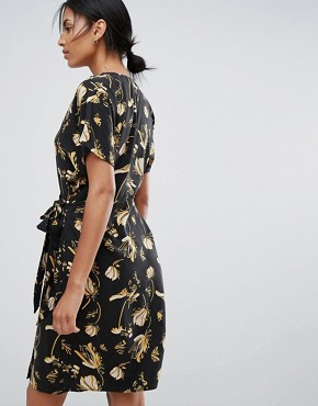 photo Elay Leaves Print Wrap Dress by Just Female, color Sakura Yellow Aop - Image 2