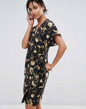 photo Elay Leaves Print Wrap Dress by Just Female, color Sakura Yellow Aop - Image 1