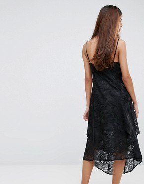 photo Floral Jacquard Strappy Dress by Warehouse, color Black - Image 2