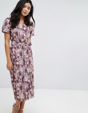 photo Wrap Tea Midi Dress by Alter, color Burgundy - Image 1