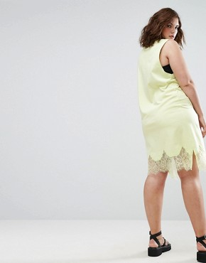 photo Sleeveless T-Shirt Dress with Lace Inserts by ASOS CURVE, color Fluro Yellow - Image 2