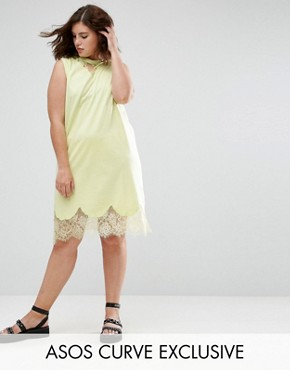 photo Sleeveless T-Shirt Dress with Lace Inserts by ASOS CURVE, color Fluro Yellow - Image 1