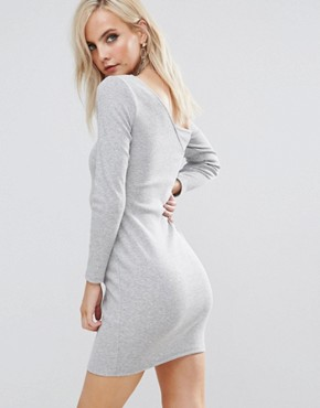 photo Asymmetric Shoulder Rib Bodycon Dress with Long Sleeve by ASOS PETITE, color Grey - Image 2