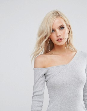 photo Asymmetric Shoulder Rib Bodycon Dress with Long Sleeve by ASOS PETITE, color Grey - Image 3