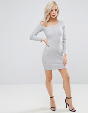 photo Asymmetric Shoulder Rib Bodycon Dress with Long Sleeve by ASOS PETITE, color Grey - Image 4