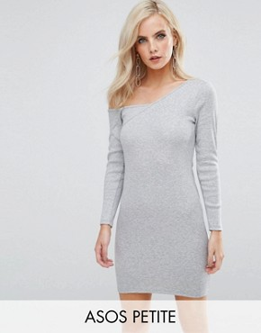 photo Asymmetric Shoulder Rib Bodycon Dress with Long Sleeve by ASOS PETITE, color Grey - Image 1