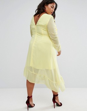 photo Ruffle Front Midi Tea Dress by ASOS CURVE, color Yellow - Image 2