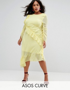 photo Ruffle Front Midi Tea Dress by ASOS CURVE, color Yellow - Image 1