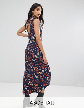 photo Maxi Tea Dress with Cut Out Back Detail in Grunge Floral Print by ASOS TALL, color Multi - Image 1