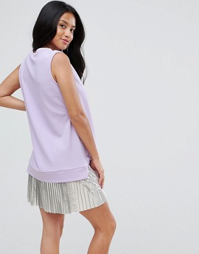 photo Sleeveless Crepe Mini Dress with Pleated Foil Hem by ASOS PETITE, color Lilac - Image 2