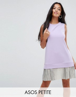 photo Sleeveless Crepe Mini Dress with Pleated Foil Hem by ASOS PETITE, color Lilac - Image 1
