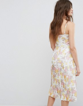 photo Floral Metallic Jacquard Strappy Dress by Warehouse, color Multi - Image 2
