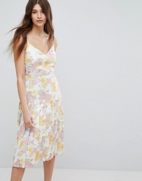 photo Floral Metallic Jacquard Strappy Dress by Warehouse, color Multi - Image 1