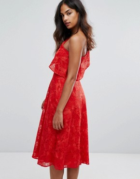 photo Floral Jacquard One Shoulder Dress by Warehouse, color Bright Red - Image 2