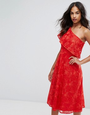 photo Floral Jacquard One Shoulder Dress by Warehouse, color Bright Red - Image 1