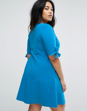 photo Skater Dress with Bow Sleeve by ASOS CURVE, color Blue - Image 2