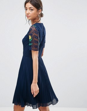 photo Embroidered Mini Pleat and Lace Dress by ASOS TALL, color Navy - Image 2
