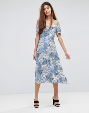 photo Tiger Print Button Through Dress by Warehouse, color Blue - Image 1