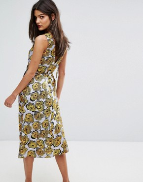 photo Mixed Woodblock Silk Dress by Warehouse, color Multi - Image 2