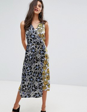 photo Mixed Woodblock Silk Dress by Warehouse, color Multi - Image 1