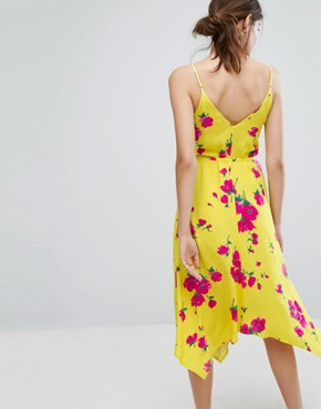 photo Delia Flower Hanky Hem Cami Dress by Warehouse, color Yellow - Image 2