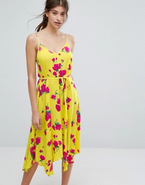 photo Delia Flower Hanky Hem Cami Dress by Warehouse, color Yellow - Image 1