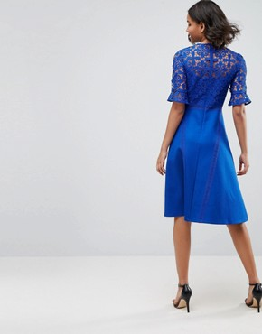 photo Lace Insert Midi Dress by ASOS PREMIUM, color Cobalt - Image 2