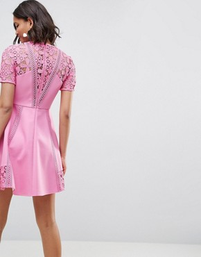 photo Lace Insert Mini Dress by ASOS PREMIUM, color Pink - Image 2