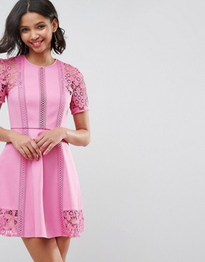 photo Lace Insert Mini Dress by ASOS PREMIUM, color Pink - Image 1