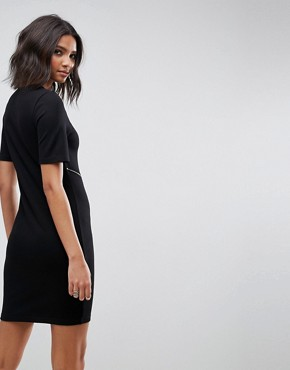 photo Bodycon T-Shirt Mini Dress with Zip Detail by ASOS, color Black - Image 2