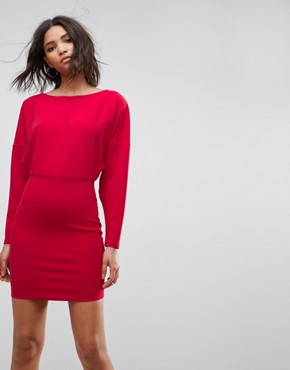 photo Knot Back Batwing Mini Dress by ASOS, color Red - Image 2