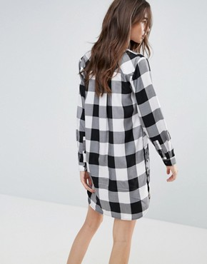 photo Check Shirt Dress by Current Air, color Black/White - Image 2