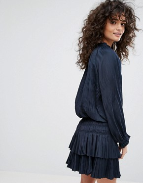 photo Pleated Mini Dress by Current Air, color Dark Navy - Image 2