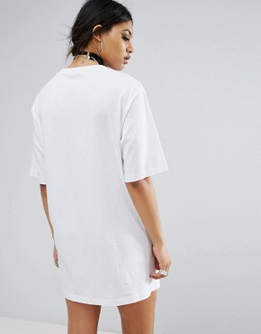 photo Oversized T-Shirt Dress with Lace Up Neck by Bones, color White - Image 2